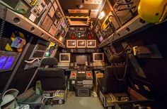 "planes/spaceship/submarine/bunker theme office space - from a victorian house with ""control room"" office"