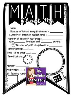 Math About Me FREEBIE What a great idea for a student generated bulletin board! Hello Open House project!