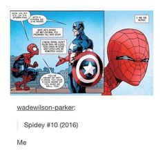This is why Peter Parker/Spider-Man is so relatable. Marvel Funny, Marvel Memes, Marvel Dc Comics, Funny Comics, Spideypool, Superfamily, Marvel Avengers, Captain Marvel, Captain America