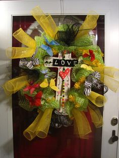 Cross Easter  love wreath deco mesh spring by frontdoorcouture, $135.00