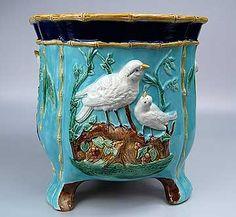 Majolica Birds on Nest Jardiniere ~ English ~ 19th Century ~ unattributed