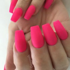 Nails coffin, pink acrylic nails, coffin nails designs summer, pink a Hot Pink Nails, Pink Acrylic Nails, Matte Nails, Acrylic Nail Designs, Matte Gel, Prom Nails, Long Nails, Nagel Gel, Super Nails