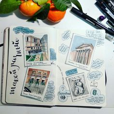 Travel sketch.  Madrid city center.   Windsor&newton markers.