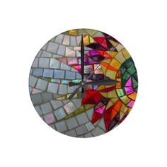Floral Mosaic Wall Clock, shiny mosaic photo from Zazzle.com - JUSTART