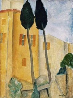 Cypress Trees and House - Amedeo Modigliani