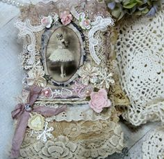 Khatsart Vintage Shabby Chic Fabric Premade Scrapbook Albums Ballerina Clothes 2 | eBay