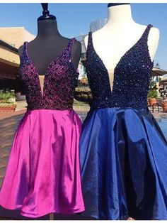 Modern V-Neck Rose Pink/Royal Blue Short Prom Homecoming Dress with Beading