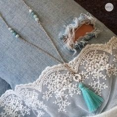 Minty silver necklace with fringes and amazonite by MOU