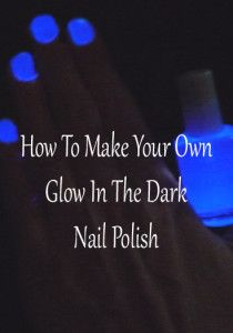 It's actually really easy to make. You just mix the glow stuff from inside a glow stick with clear nail polish. if you want to glow in the dark pour a little bit of the glowing stuff in a cup, and then with  a q-tip put it on clean nails. Let it dry for a minute and  paint them with the glow in the dark polish.