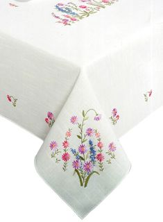 Amazon.com - Tobin Wildflowers Stamped Oblong Tablecloth for Embroidery -