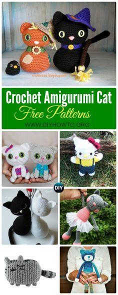 Collection of Crochet Amigurumi Cat Free Patterns: Amigurumi Hello Kitty, Kitty Toy Plush and Softie via @diyhowto