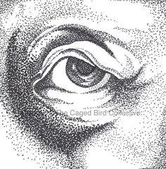 Fine Art Original Ink Pointillism Eye by CagedBirdCollective, $30.00