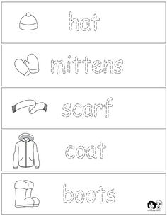 Winter Clothes - Worksheets - English for Children - French for Children - German for Children - Spanish for Children - Italian for Children - Language Printouts & Activities www.chillola.com