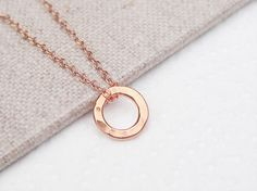 ba2d0bb07 Eternity circle necklace on a delicate rose gold filled chain, karma  necklace, everyday jewelry, layering necklace, rose gold hoop pendant