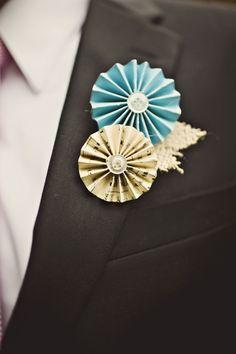 Paper pinwheel boutonniere