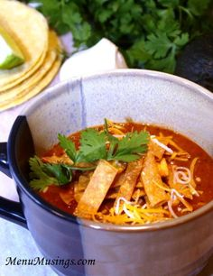 Crock Pot Chicken Tortilla Soup - This recipe gets you out the door in the mornings in only a few minutes...to return to a house full of wonderful smells!  Step-by-step photo tutorial.