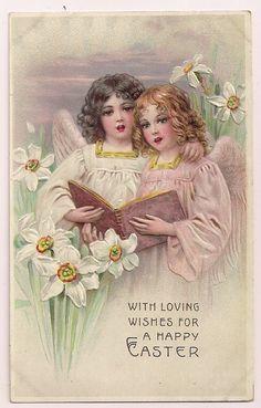 vintage easter postcard, angel clip art, old fashioned easter card ...