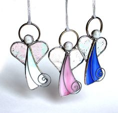 One beautiful Love Angel Holiday ornament, choose (1) Blue, Pink, or Iridescent White