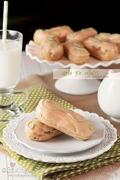 Apple Pie Eclairs with Caramel Glaze by Bakingdom...the filling uses a mix to achieve apple pie flavor...like the icing