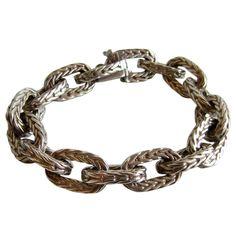 HERMES Braided Sterling Chain Bracelet