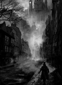 The Fleet Street Phantom- Hallowe'en 1684 A sooty, foggy night in Victorian London. great atmosphere for horror and vampires - Phuoc Quan: Black and White painting Fleet Street, Ville Steampunk, Steampunk City, Gothic Steampunk, Art Noir, Victorian London, Victorian Street, Victorian Village, Victorian Gothic
