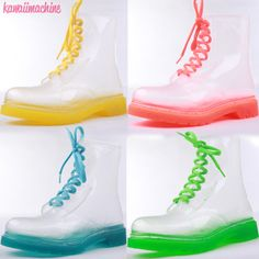 These adorable thick vinyl boots are see through with candy colored soles and laces. US Sizing. #fairykei #pastelgoth #jelly #boots #clear #kawaii #candy #seethrough