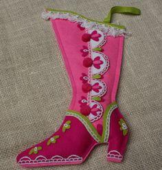 Vintage Felt Christmas Stocking Pink Boot