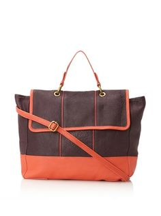 57% OFF Charlotte Ronson Women's De-Constructed Cross-Body Satchel (Mahogany/Coral)
