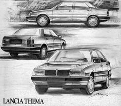 Lancia Thema - bozzetti di Giugiaro, nel 1981 #lancia #italiandesign #giugiaro
