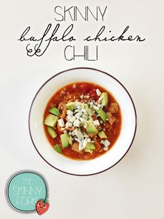Skinny Buffalo Chicken Chili - The perfect addition to any game day spread. Plus, no one will ever guess that there's only about 200 calories in a full serving!