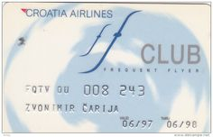 CROATIA Airlines Club card  Frequent flyer airways