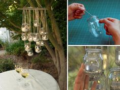 How to recycle glass containers into a chandelier. I love how whimsical the end product looks.