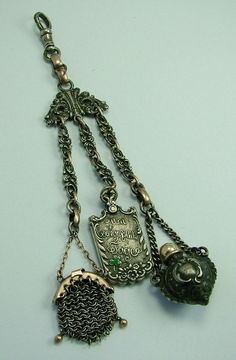 Victorian Miniature Silver & Gold Chatelaine with 3 Charms