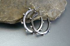 Timeless Sterling Silver Oxidized Hoop Earrings by pmdesigns09