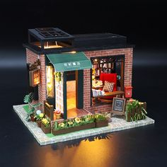 DIY 'Century Bookstore' w/ LEDs Dust Cover and Glue Wooden Kids Toy Miniature Dollhouse Diy Dollhouse, Dollhouse Miniatures, Mdf Wood, Ways To Relax, Victoria Australia, Kids Store, Kids And Parenting, Gifts For Kids, Led