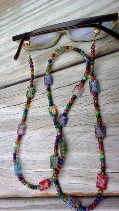 Eyeglass Chain Beaded, Beaded Chain for Glasses, Millefiori Beads, #eyeglasschain #falloffmyhead by MichelesAManoDesigns