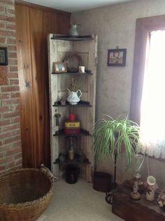 Recycled door to make a corner shelf