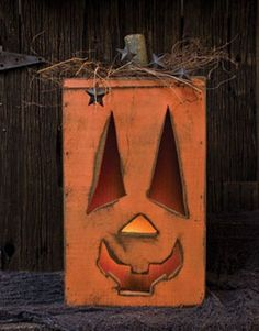 Pumpkin - Handcrafted Wood Lighted Jack O lantern Fall Wood Crafts, Halloween Wood Crafts, Primitive Wood Crafts, Primitive Fall, Halloween Pumpkins, Halloween Crafts, Halloween Decorations, Holiday Crafts, Primitive Country