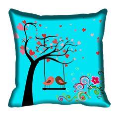 Giftwallas Blue Birds Digitally Printed Cushion Cover (16x16)