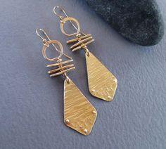 Hammered Brass Earrings Golden Goddess Earrings Ancient Tribal Jewelry Artisan Handmade Modern Bohemian Abstract Art Metal Jewelry