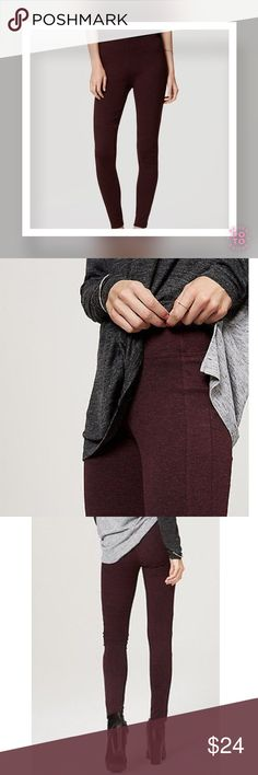 """LOFT Seamed Ponte Leggings Autumn Burgundy Heather NWT! In super stretchy ponte, this have-to-have pair is endless flattering. Elasticized waist. Seamed detail throughout. Petite 25"""" inseam (approx.) Fabric: 67% rayon, 29% nylon, 4% spandex. LOFT Pants Leggings"""