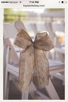 Rustic wedding bow...for the saved rows at the wedding. Maybe add a sunflower.