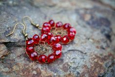 Ruby Boho Wire Mesh Crochet Earrings by nZuriArtDesigns on Etsy