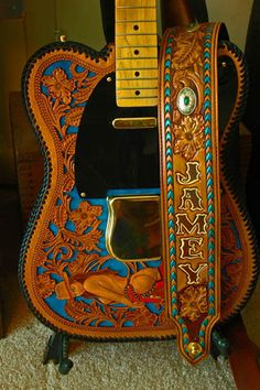 Samples of the impressive works of art by Cody Hixon of Great Point Custom Leather Works - Custom telecaster guitar and strap built for Jamey Johnson