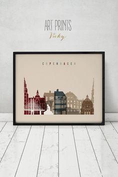 Copenhagen print Poster Copenhagen skyline wall by ArtPrintsVicky
