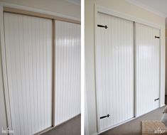 Barn Style Wardrobe Door Makeover--cover those dated mirrored closet doors!