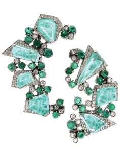 Paraiba tourmaline, emerald, and diamond earrings by Ruth Grieco - Haute Tramp