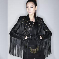 Women Black Heart Design Silver studded leather Jacket with long fringe laced  #Handmade #StuddedStyle