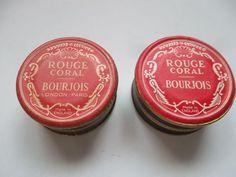 vintage bourjois rouge coral two pots SH Bourjois, Retro Makeup, Vintage Beauty, 1940s, Fun Facts, Makeup Looks, Perfume Bottles, Fragrance, Coral