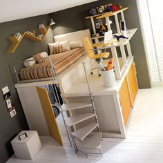 Kid's storage bed & desk unit by Tumidei (Italy)... why did I not have this sort of thing when I was younger?!
